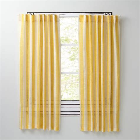 line up striped linen curtains yellow the land of nod
