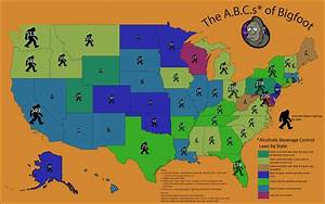 'The A.B.C.s of Bigfoot' map correlating alcohol ...