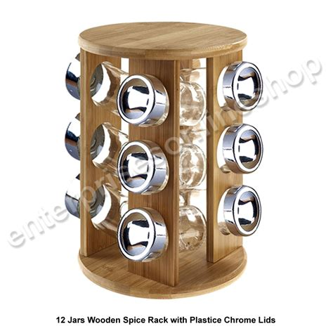 Spice Rack Stand by 12 16 Revolving Rotating Wooden Plastic Kitchen Spice Rack