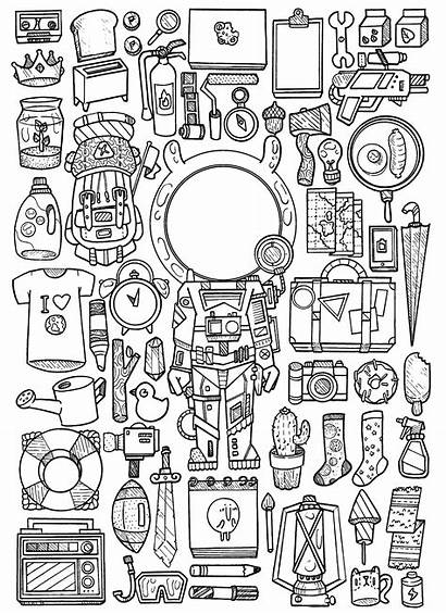 Doodle Doodles Space Outer Coloring Pages Instagram