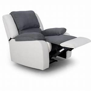 Fauteuil 3 Places : fauteuil relax simili et tissu helene pas cher prix auchan ~ Teatrodelosmanantiales.com Idées de Décoration
