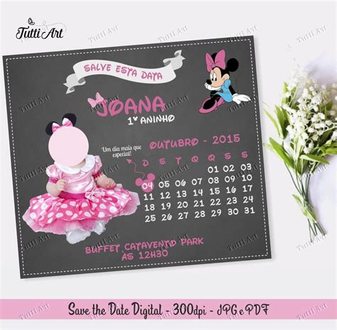 Save The Date Digital Aniversário Minnie