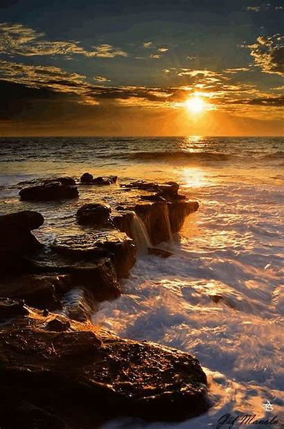 Ocean Sunset Gifs Places Mer Beach Amazing
