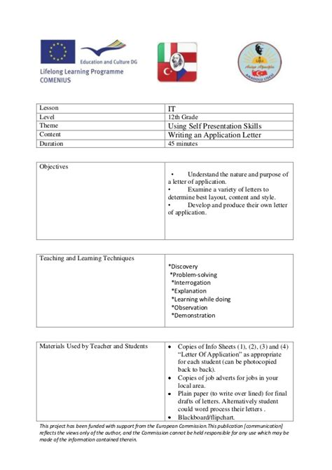 writing an application letter lesson plan turkey