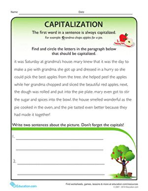 capitalization rules sentences worksheet education com