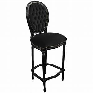 Chaise Tissu Noir : chaise de bar de style louis xvi avec tissu velours noir ~ Teatrodelosmanantiales.com Idées de Décoration