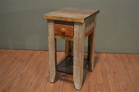 Rustic Solid Wood Side Table With Drawer / End Table