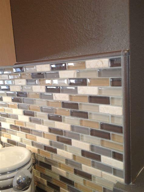 Glass Mosaic Tile Kitchen Backsplash Ideas by Glass Mosaic Backsplash In Neutral Colors Complete With