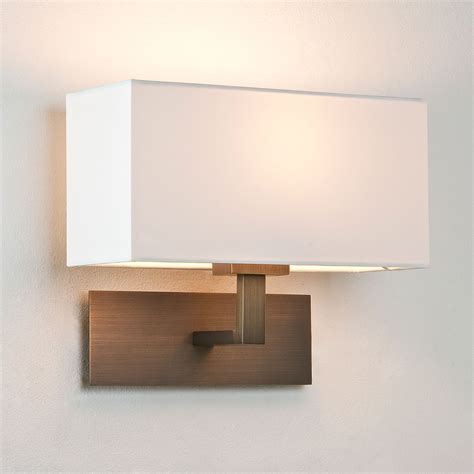 astro park bronze wall light with white shade at uk