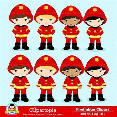 Fire Clipart Fireman Firefighter Clip Truck Digital