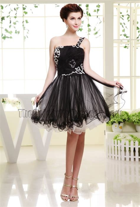 cute black tulle  shoulder party dress homecoming