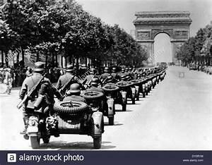 German soldiers on motorbikes are pictured during a ...