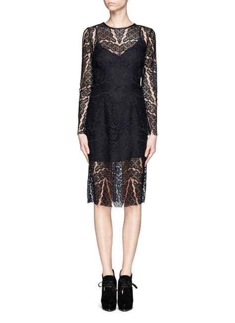 lyst sandro lace overlay dress  black