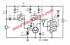 fm transmitter circuit without coil eleccircuitcom With two transistors wireless microphone fm transmitter circuit schematic diagram