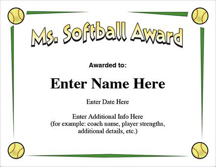 ms softball award certificate template fast pitch
