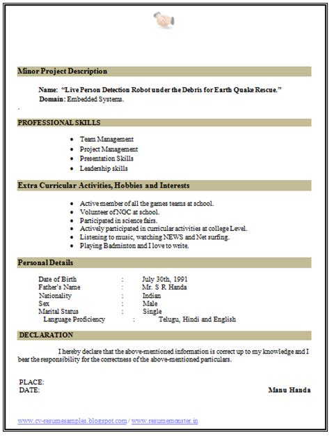 Professional Curriculum Vitae Format by 10000 Cv And Resume Sles With Free