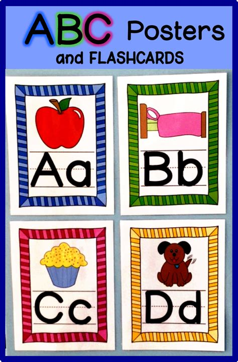 abc posters  flashcards bright stripes abc poster