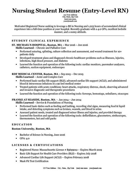 New Grad Nursing Resume Clinical Experience by Entry Level Nursing Student Resume Sle Tips