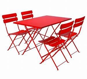 Salon De Jardin Pliant : salon de jardin rectangulaire pliant rouge mat 4 places ~ Teatrodelosmanantiales.com Idées de Décoration