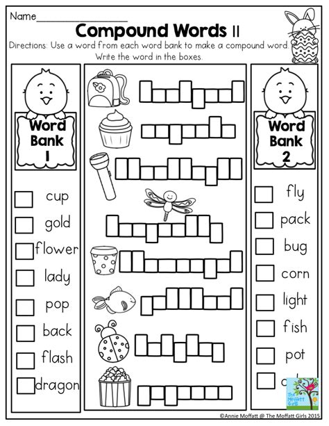 grade compound words worksheet in the no prep