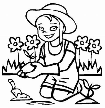 Coloring Planting Garden Pages Gardening Drawing Flowers