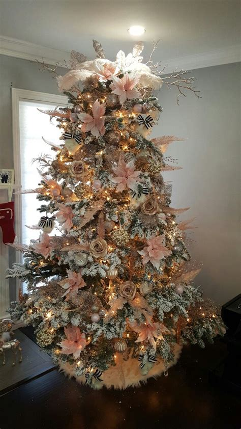 white tree with gold decorations white tree blush pink gold chagne and