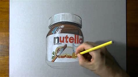 glass jar  nutella realistic drawing youtube
