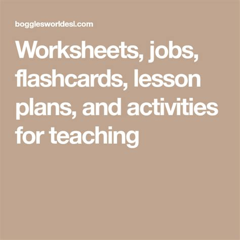 worksheets jobs flashcards lesson plans  activities