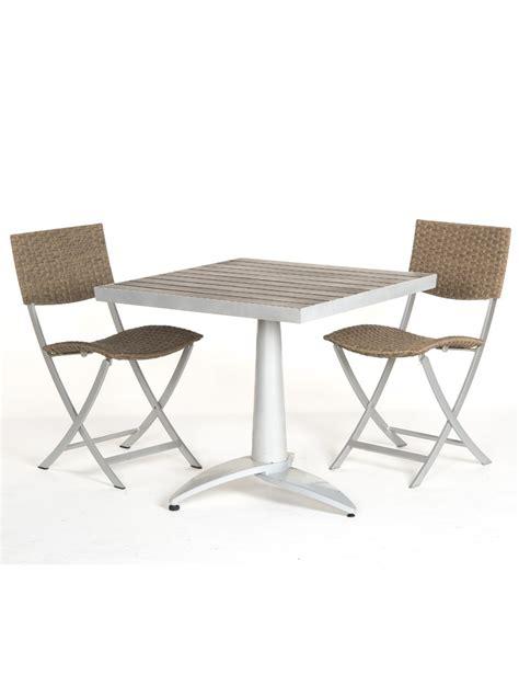 table et chaise de terrasse professionnel table terrasse en bois 76x76 2 chaises fixes de jardin
