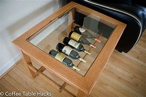 oak coffee table with wine rack by coffeetablehacks With wine storage coffee table