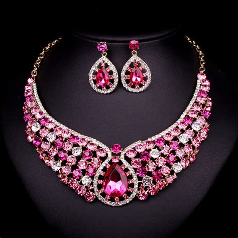 fashion pink crystal necklace earrings bridal indian
