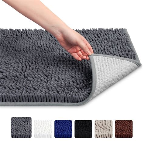 gray microfiber shag bath rug super soft absorbent