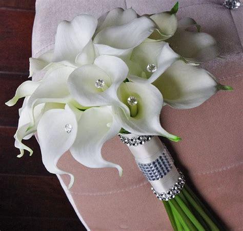 wedding lillies silk flower wedding bouquet turquoise aqua aruba blue calla lilies natural touch with crystals