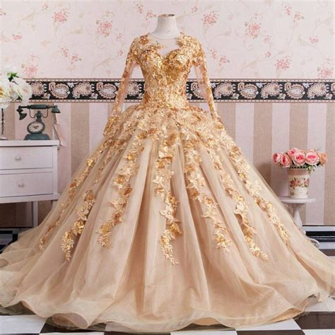 Gold Long Sleeves Wedding Dresses Ball Gowns Lace