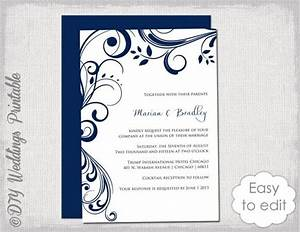 navy wedding invitation template quotscrollquot printable With wedding invitation video online editing
