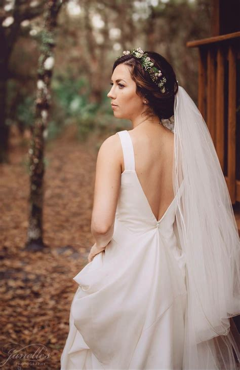 Flower Crown With Cathedral Veil And Open Back Wedding Dress