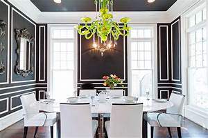 Easy wall molding ideas to dress up your walls you can for Modern dining room black and white
