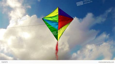 kite flying   blue sky  clouds stock animation