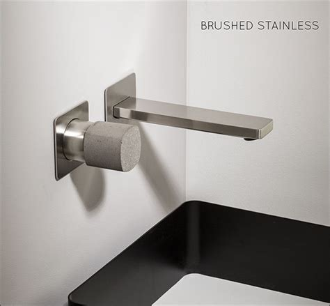 brushed stainless steel wall mounted basin tap concrete