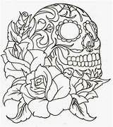 Tattoo Skull Coloring Sugar Pages Stencils Adult Printable Tattoos Rose Flower Stencil Print Sheets Tattoosbook sketch template