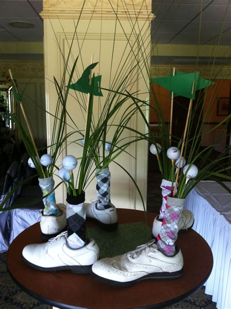hysterical centerpieces   party love  golf shoes
