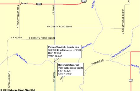 Map To Public Access Point On Big Walnut Creek In Indiana