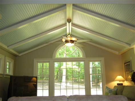 Skye Blue Beadboard Cathedral Ceiling With White Beams