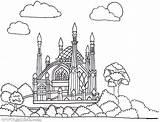 Masjid Getdrawings Coloring sketch template