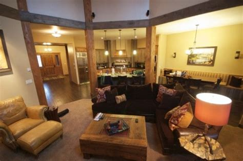 rustic modern river cabin eclectic family room boise