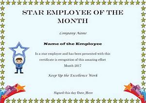 Elegant and funny employee of the month certificate for Star of the month certificate template