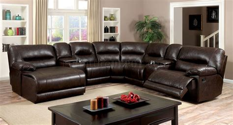 Leather Sofa Glasgow by Glasgow Motion Sectional Sofa Cm6822br In Brown Leatherette