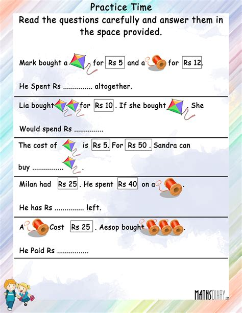 year maths word problems worksheets math worksheet