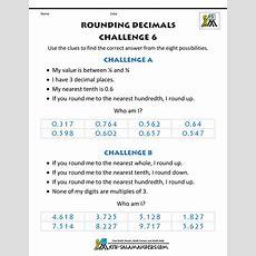 Rounding Decimals Worksheet Challenges
