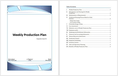 production plan template weekly production plan template microsoft word templates